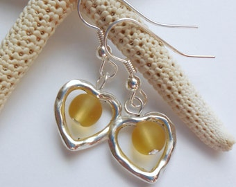 Yellow Sea Glass Earrings, Sea Glass Jewelry, Beach Glass Earrings, Beach Glass Jewelry, Silver Heart earrings.  FREE SHIPPING in the U.S.