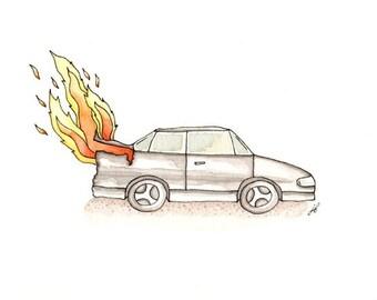 Car fire, giclee print