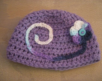 Swirl Beanie with Flower