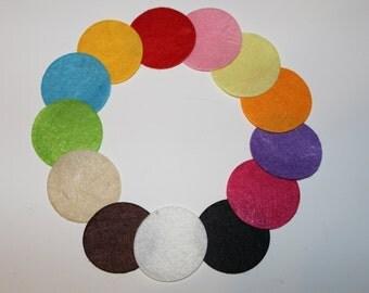 "1.5"" Mixed Colors Felt Circles 100 count - One and a Half Inch Wholesale Color Felt Circles 100 count"