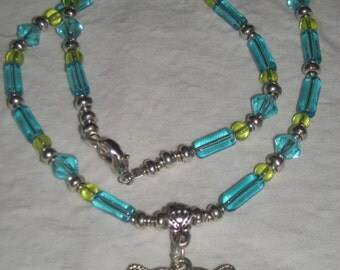 Butterfly pendant glass bead necklace