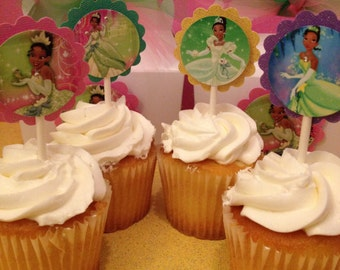 Princess Tiana glitter cupcake toppers, Princess and the frog , Princess Tiana favor tags, princess tiana birthday banner 12 ready-to -ship