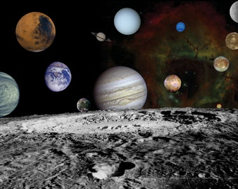Solar System Space Poster 8x10 or 11x14