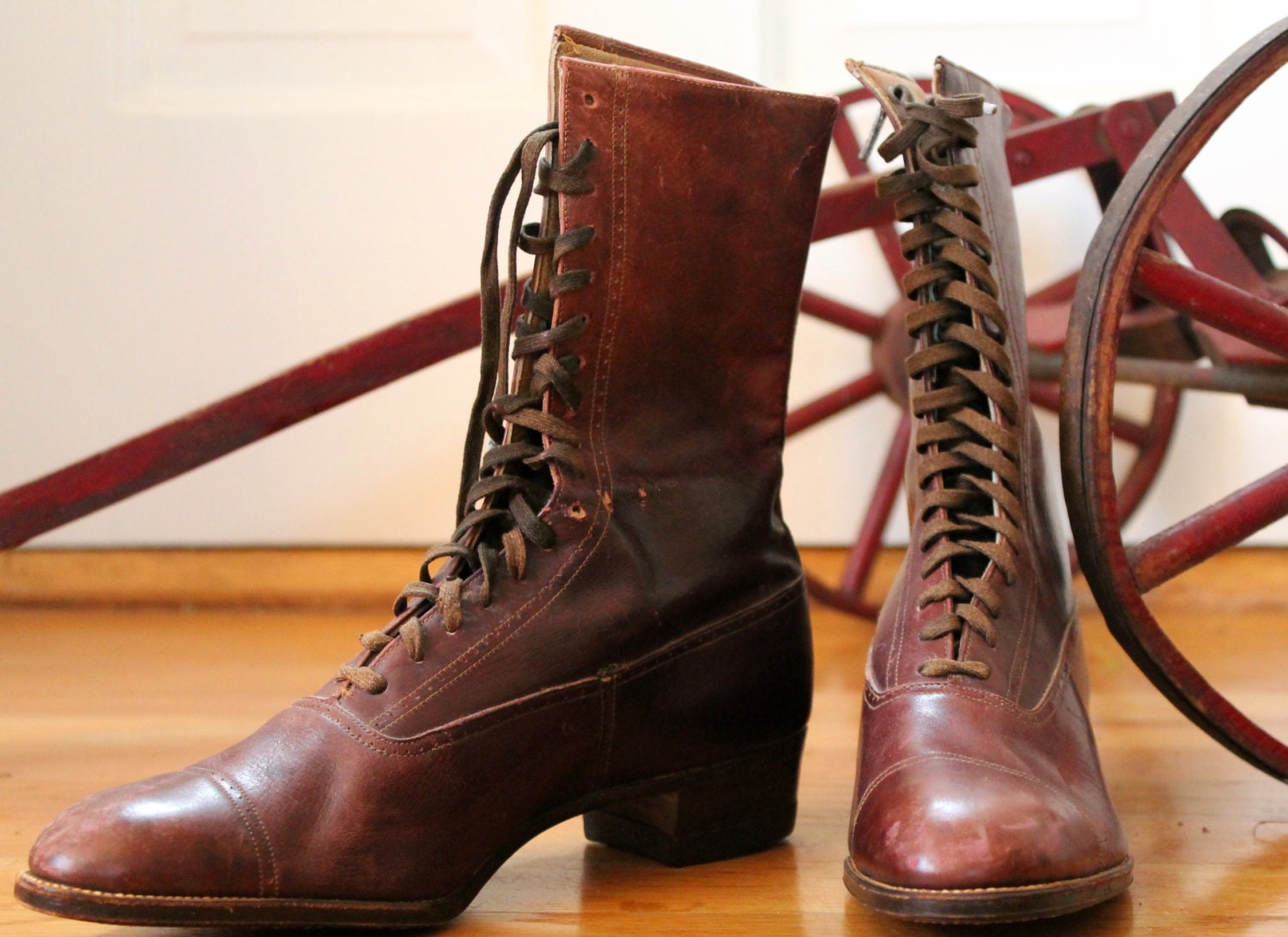1920s weatherbird s lace up leather boots vintage