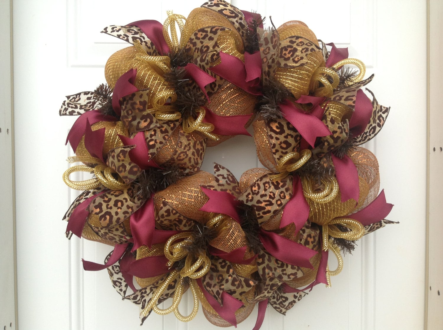 Leopard Animal Print Deco Mesh Wreath For Door Or Wall Decor