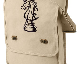 Chess Bag, Chess Messenger Bag, Knight and Day Chess Embroidered Canvas Field Bag