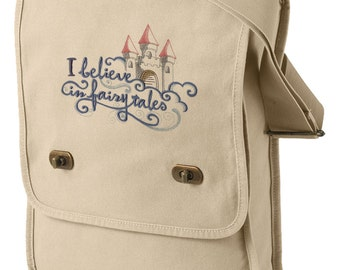 I Believe in Fairy Tales Embroidered Canvas Field Bag