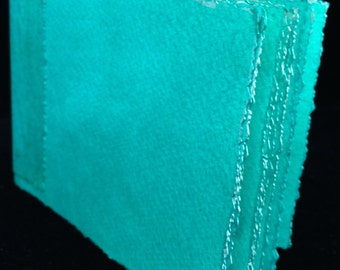 Turquoises, Hand Bound, Hand Inked Watercolor Paper Travel Journal