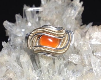 Size 5 (wideband) Agate Ring wrapped in .925 and 14/20GF
