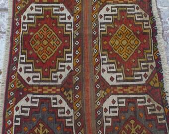 vintage turkish sumak kilim rug 40x23