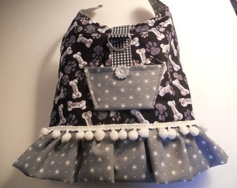dog dress in black and gray with pom pom lace and pocket
