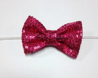 Hot Pink Sequin Bow Headband, hot pink Sequin Bow, Sequin Bow, baby Bow Headband, Pink Bow, pink birthday headband, newborn headband