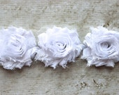 1 Yard Shabby Chiffon Flower Trim in White - Flower Trim for Headbands and DIY supplies