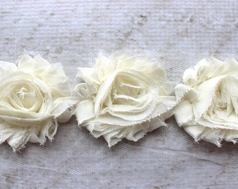 1 Yard Shabby Chiffon Flower Trim in Ivory - Flower Trim for Headbands and DIY supplies
