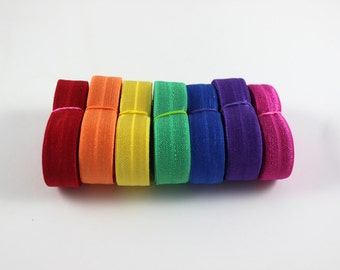 Rainbow Fold Over Elastic Bundle - Elastic For Baby Headbands and Hair Ties - 14 Total Yards of 5/8 inch FOE