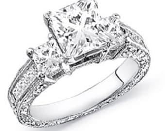 2.00 Carat Diamond Engagement Ring (1.00 Carat Center Diamond)