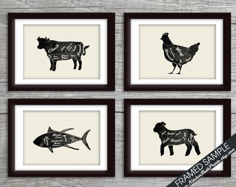 Beef, Chicken, Fish and Lamb (Butcher Diagram Series) - Set of 4 - Art Print (Featured Vintage Chalkboard with Cream) Kitchen Prints