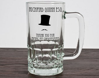 Personalised Groomsmen Beer Glass Tankard - Groomsmen Gift - Gift for the Groom - Wedding Thank You Gift - FREE UK DELIVERY!