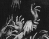 Dark Surreal Charcoal Drawing of Hands