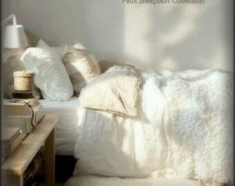 Plush Faux Fleece Fur Bedspread / Comforter / Throw Blanket / Minky Lining / Warm Off White / Custom Made USA / All New Sizes