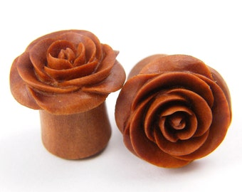 Rose Flower Ear Gauge Plugs - (00g) - Sawo / Sabo Wood