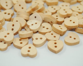 Wooden Buttons - HEARTS ~ Pack of 20 Buttons