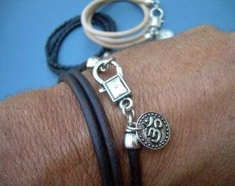 Om Bracelet, Leather  Bracelet, Wrap Bracelet, Triple Wrap, Womens Bracelet, Mens Bracelet, Womens Jewelry, Mens Jewelry, Yoga, Namaste