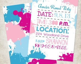5x7 Paint Splatter Themed Gender Reveal Announcement Invitation Pink or Blue, Boy or Girl?