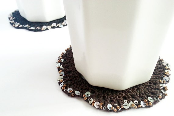 Crochet Coaster Set, Cotton Coaster, Black Brown Beaded Doilies, Mother's Day, Housewarming gift