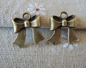 15Pcs  18X16mm antique bronze  bowknot pendant (A162)