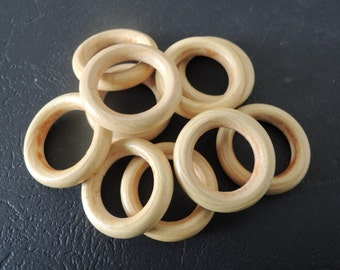 "50Pcs  24mm(1 "") Unfinished Natural Wood  Ring Wooden Circle  (W586)"