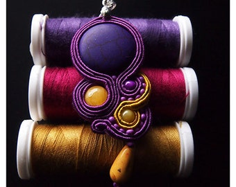 Beautiful Violet & Yellow Soutache Pendant with violet Howlite