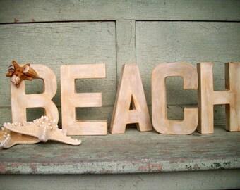 Beach Decor - Aged White Paper Mache Beach Sign - Beach Decor - Wedding Decor