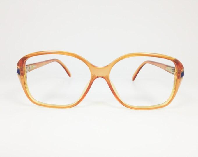 70s Vintage Glasses | Clear Amber Eyeglass Frame | Lapis Pyramid Stud | NOS 1970s Square Oval Eyeglasses | Vintage Deadstock Eyewear - 1230
