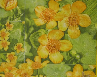 Floral napkin, Yellow kingcups, Paper napkin for decoupage