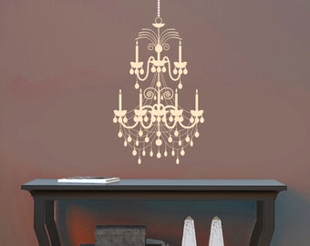Shabby Chandelier Wall Decal Removable Wall Art Vinyl Dinning Room Sticker 60 Color Choices 7 sizes