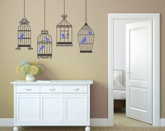 4 CAGES 6 BIRDS Decals Removable Wall Art Vinyl Decal Dinning Living Room Nursery Birdcage Sticker