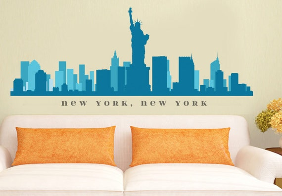 New york ny skyline wall decal art vinyl by americandecals for Good look chicago skyline wall decal