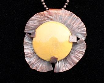 Enameled metal disk pendant necklace
