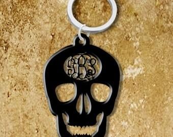 Monogram Keychain Acrylic Skull Personalized Custom Hand made Initials Halloween Gift Birthdays