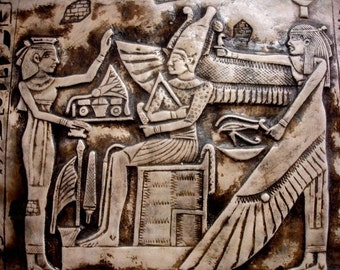Egyptian Wall Decor God Osiris,Nephthys & priest Antique Reproduction