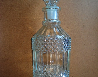Vintage Clear Glass Decanter - Glass pitcher with lid – Carafe- Liquor Decanter, 1970s