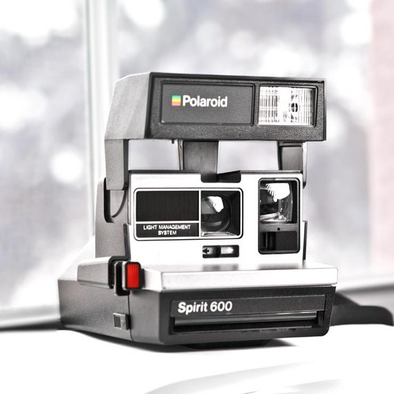 polaroid spirit 600 camera vintage camera black and silver. Black Bedroom Furniture Sets. Home Design Ideas