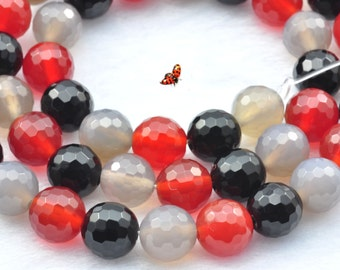 Rainbow Agate faceted round beads 8mm,47 pcs