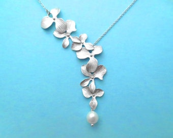 Triple, Orchid, Lariat, Flower, White, Pearl, Silver, Necklace, Cute, Lovely, Flower, Jewelry, Birthday, Friends, Wedding, Christmas, Gift