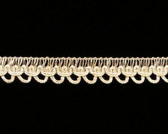 "740.3 CLEARANCE Metallic gimp trim - ""Layered Loop"" - silver - 1/2"" (12mm) - PRICE per 5 YARDS"