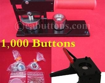 "1"" inch Tecre Pin Badge Button Maker Machine + Graphic Punch + 1,000 Buttons Parts"