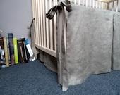 10 Off Linen Crib Skirt Dark Brown Baby Bedding By Piebalga