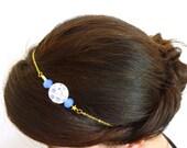 Floral  Bead Headband-Golden filigree headband-Beaded hair accessory-blue and gold- Adjustable headband