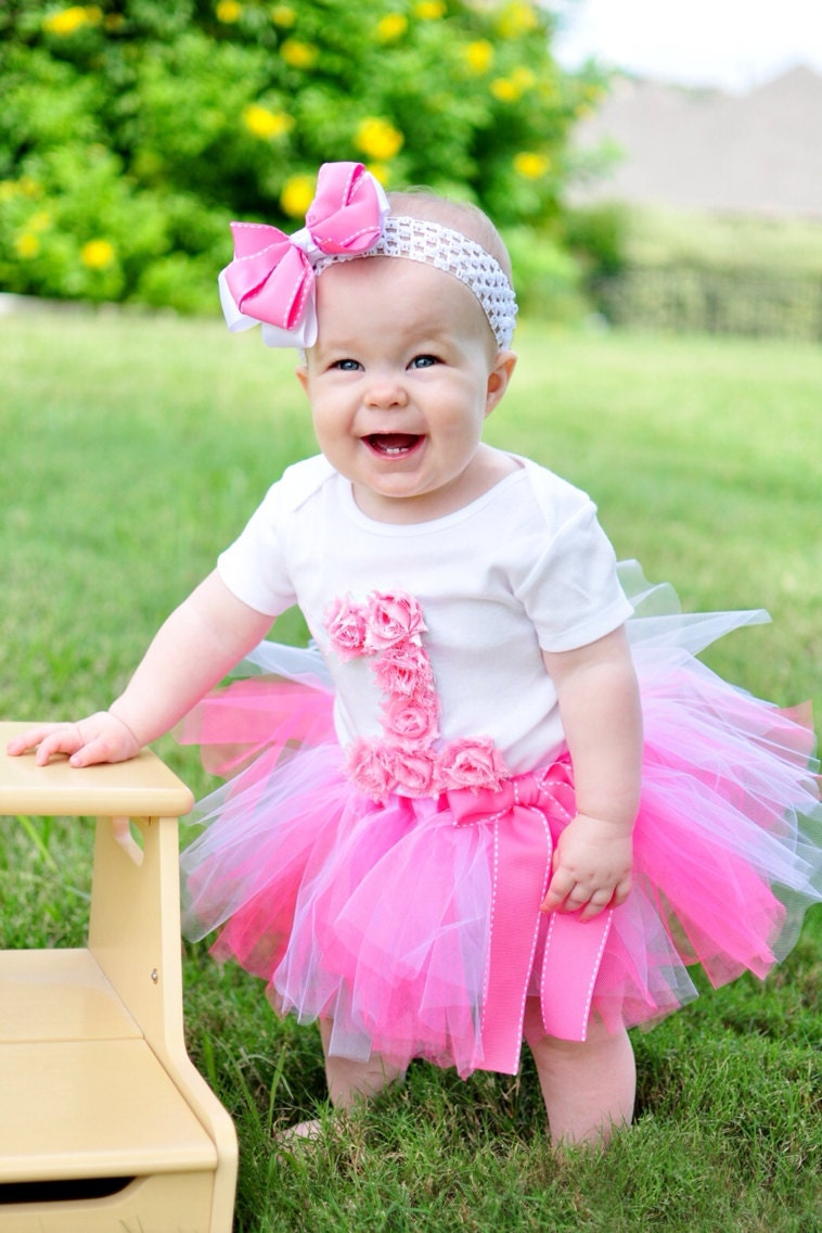 First Birthday Tutu Outfit Pink Rosette Birthday Outfit